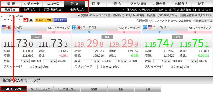 ストリーミング注文 | Web取引ガ...